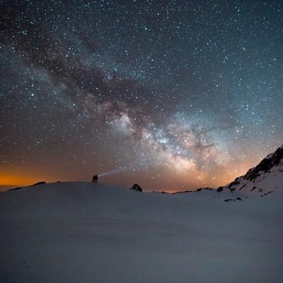 Milky way above hikers