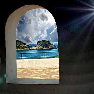 Potami Beach from church window.