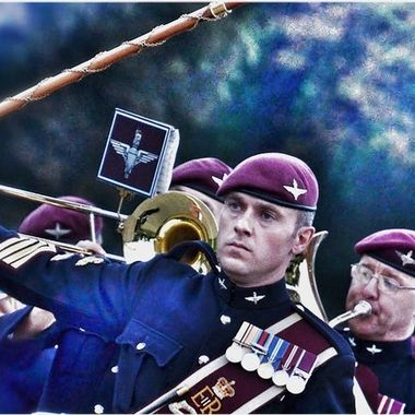 Marching Parachute Regiment miltary band.