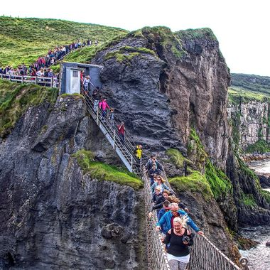 I took this photo when me and my wife visited Ireland in the year 2017.  Crossing the rope bridge was really exciting.