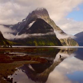 Milford sound majesty in the morning when the mist and clouds are lifting