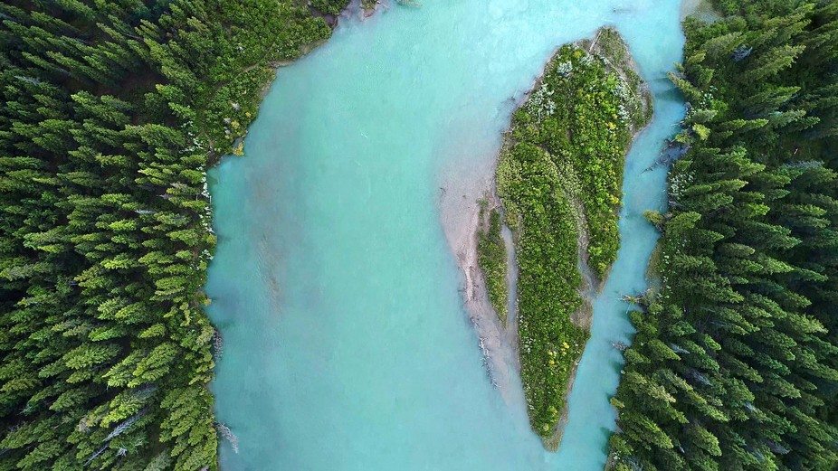 Aerial still of the Bow River near Canada's Banff National Park. Captured with my DJI Ph...