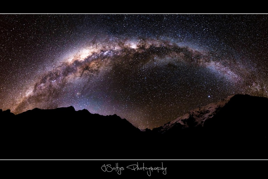 Camping in the salkantay range and captured this 19 shot milky way panoramic.