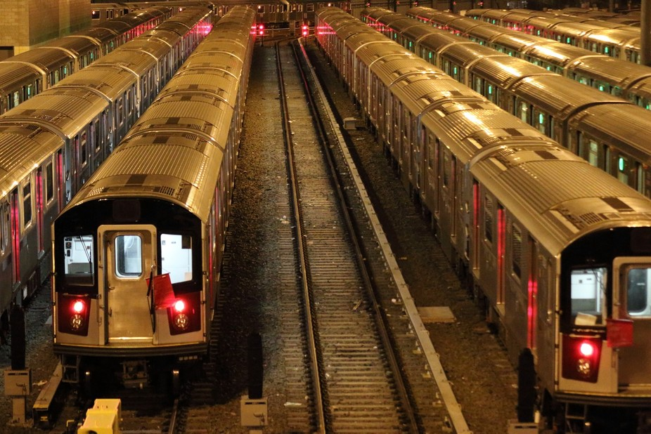 Trains in Queens NYC waiting for the morning rush. Early shift?
