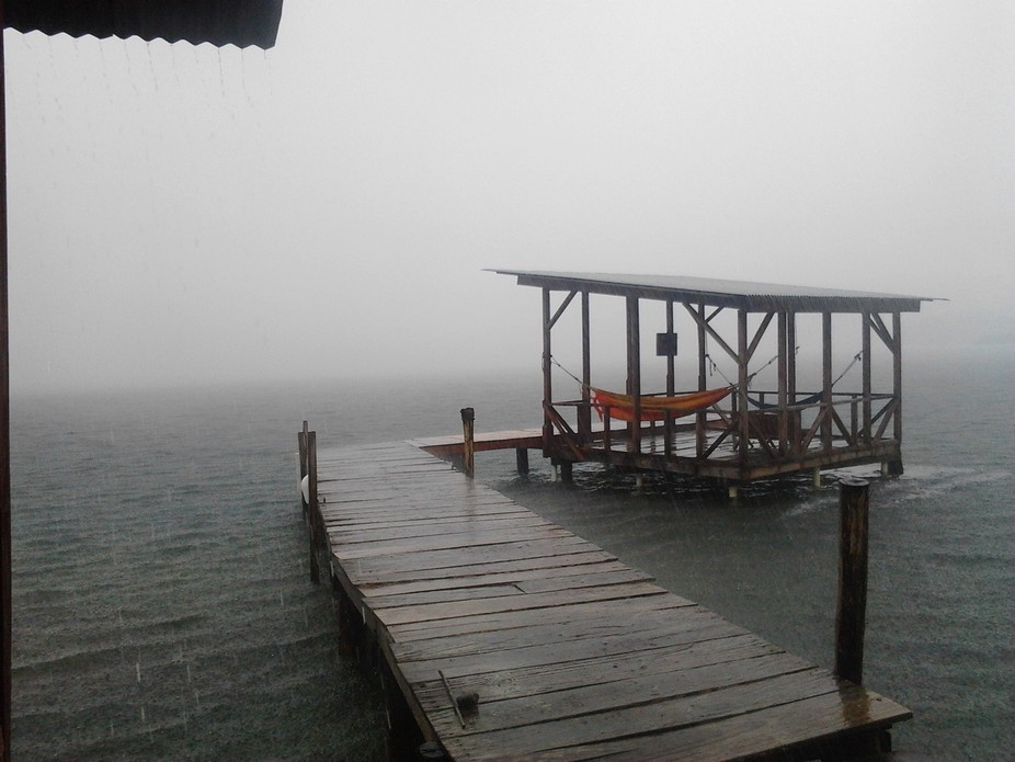 This rain storm whiteout coming over the bay was roaring and heavy.