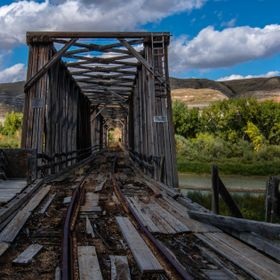 the abandoned bridge that was used to move workers and coal to and from the mine