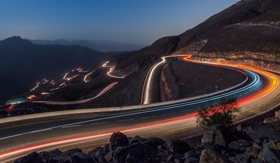 Light  trails at Jais Mountain