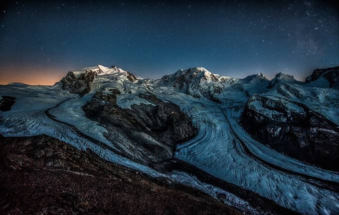 Calm night over the Monte Rosa massive by petersvoboda - Night Wonders Photo Contest