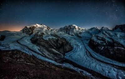 Calm night over the Monte Rosa massive