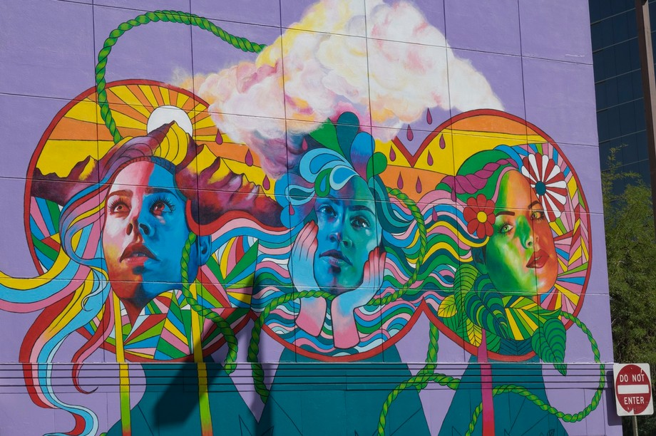A very colorful mural in the city