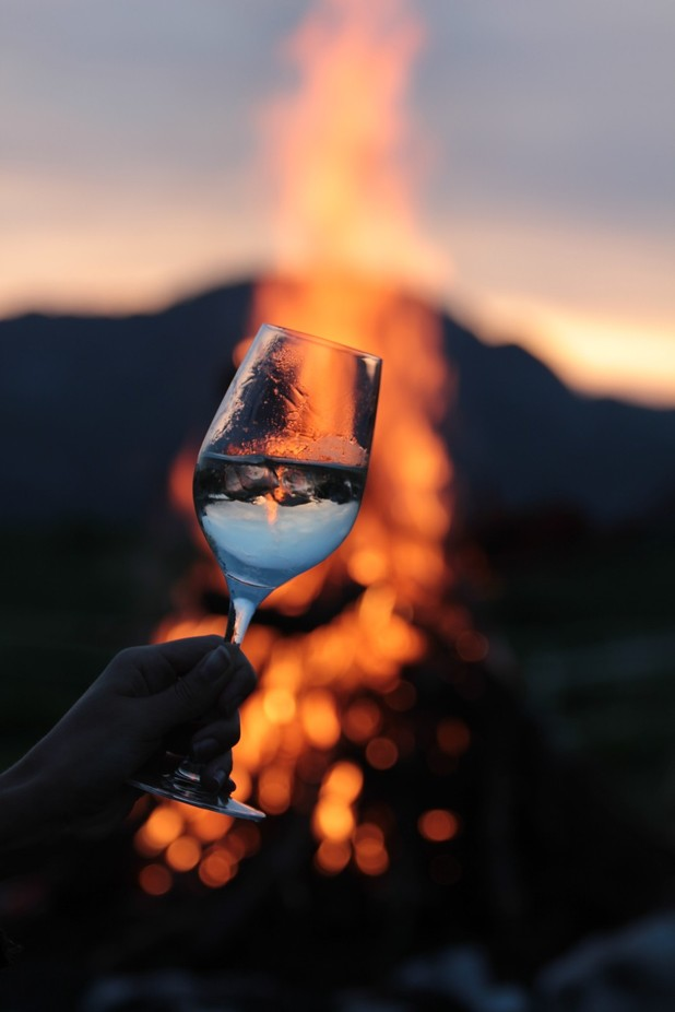 Started the day with a bonfire and a glass of wine. Happiness in all forms
