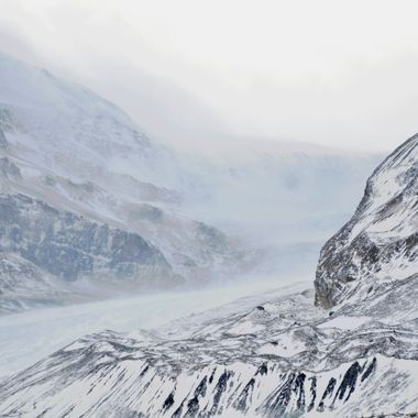 Gale force winds causing a drift off of Athabasca glacier in the Columbia Icefields