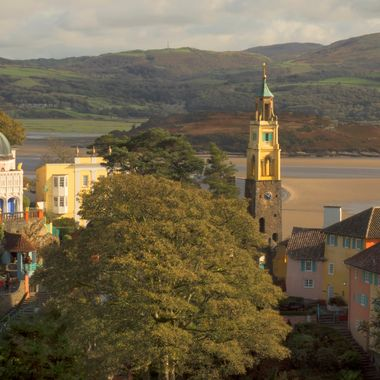 The village of Portmeirion is built overlooking the estuary of the River Dwyryd near Porthmadog.