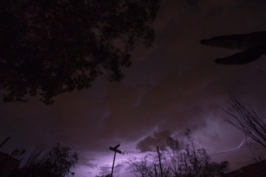 Lightning as seen thru a fisheye lens
