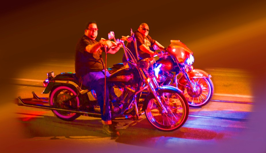 Cool bikers with their cool bikes.