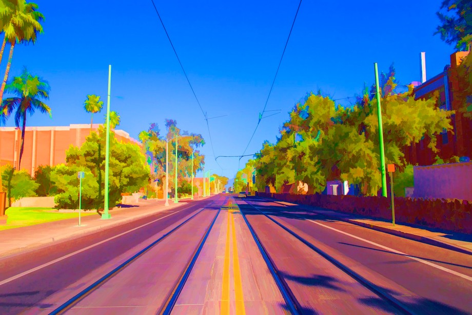 the modern day rail line of the University of Arizona campus for the streetcar