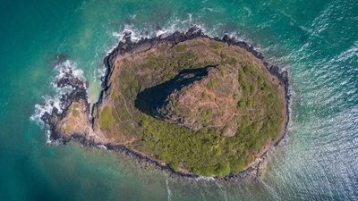 Aerial view of Chinaman's Hat, Oahu