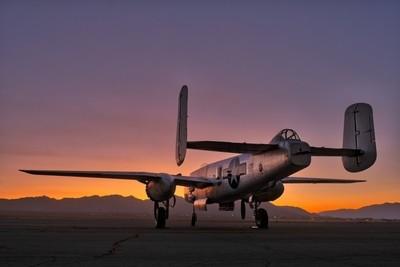 B-25 Mitchell Bomber at Sunrise