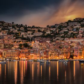 View of the city of Villefranche sur Mer, near Nice, French Riviera.