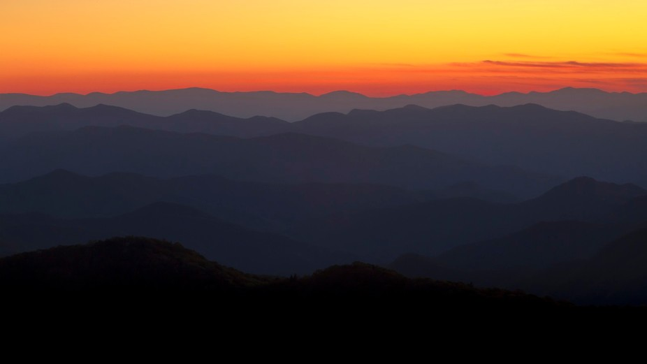 Sunset along the Blue Ridge Parkway in North Carolina. Sunsets here really give these mountains t...