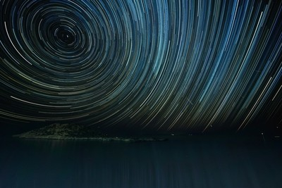 Startrails and Perseids over the sea