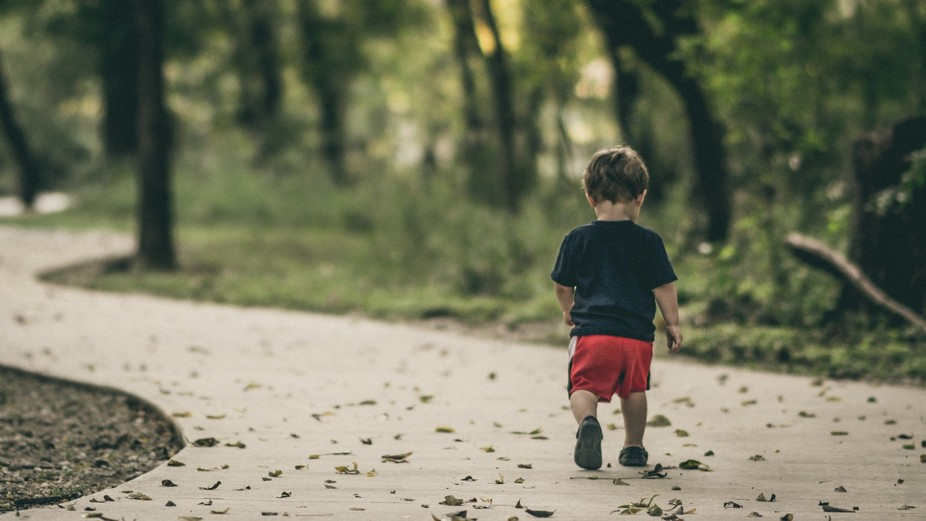 Just a boy stomping leaves in the woods; an innocent moment I'm sure we all wish we coul...