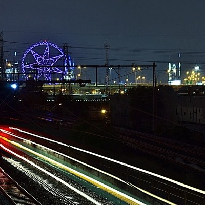 Taken from Kensington Station looking towards the Melbourne Star (Wheel of Fortune) and the Docklands area.