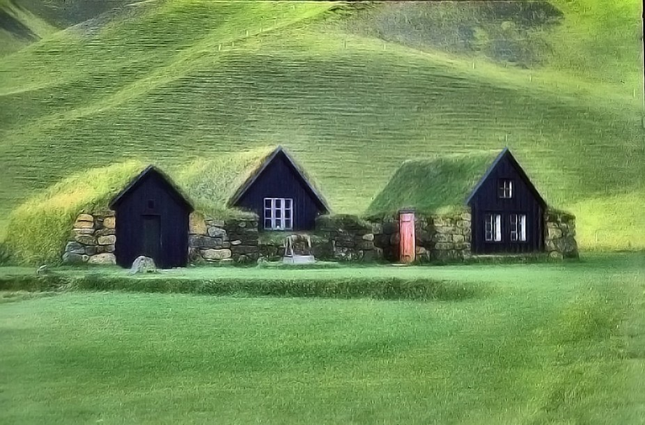 traditional houses in Iceland (Skogur). Took this photo in the age of 12 with my very first camera, an Edixa.Mat from 1955