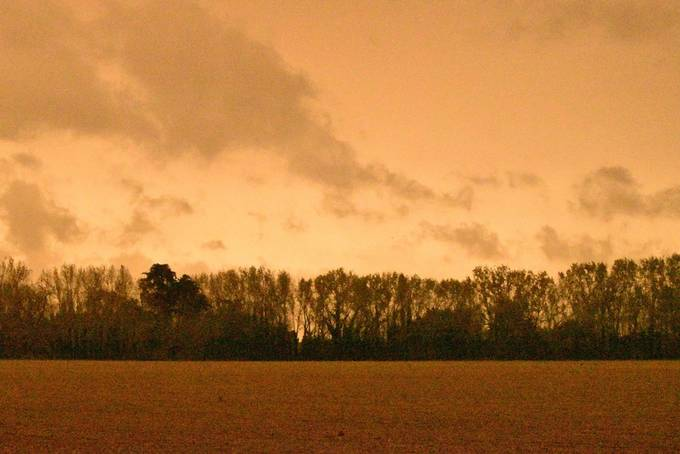 The remnants of hurricane Sophia lifted dust from North Africa and from Portuguese wild fires to create this sepia sky over the UK. This photo was taken in Prinsted, West Sussex.