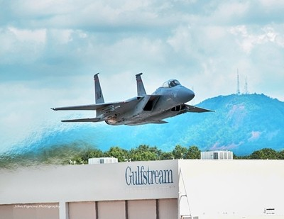 104th Air Wing F-15 taking off in Westfield, MA