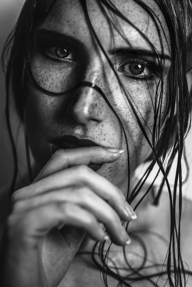 Whisp of hair by blitzlichtgewitter - Black And White Female Portraits Photo Contest
