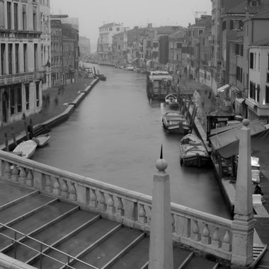 Black and white of the Canal Cannaregio in Venice