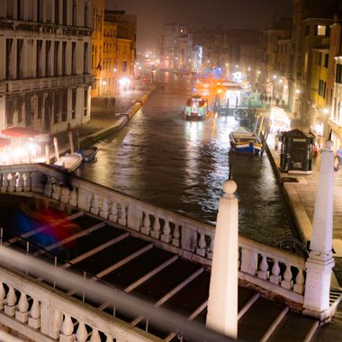 Fall night photo of the Canal Cannaregio in Venice Italy.