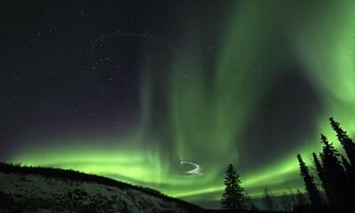 Rocket Trail in the Aurora