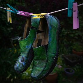 My painting shoes hanging out to dry