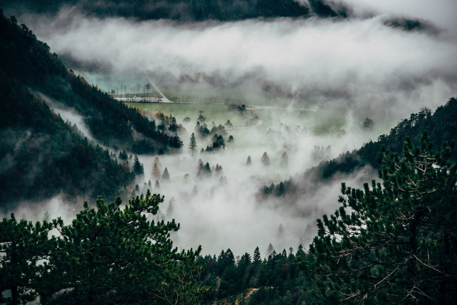 This is a photo I made near my home, the mountain and the morning mist