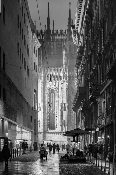 Milan Cathedral Night Black and White