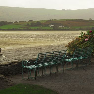 The lonely promenade at Portmeirion as Hurricane Ophelia started to roar up the estuary of the River Dwyryd