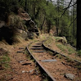 Valle Antrona, Piedmont, Italy An easy hike from Campliccioli Lake leads you on this old mine rails. Just follow it :)