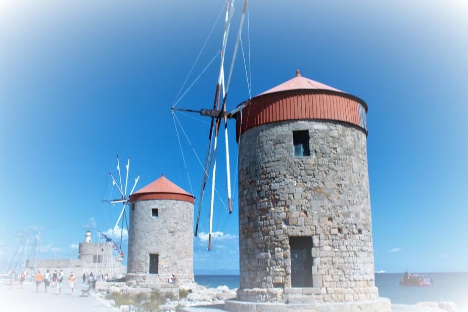 three windmills rodos greece