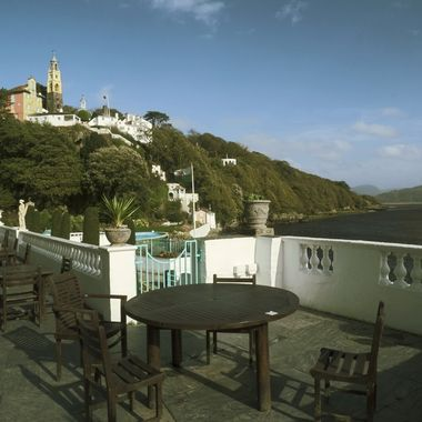 A view from the promenade at Portmeirion showing the proximity of the channel of  River Dwyryd at low water.