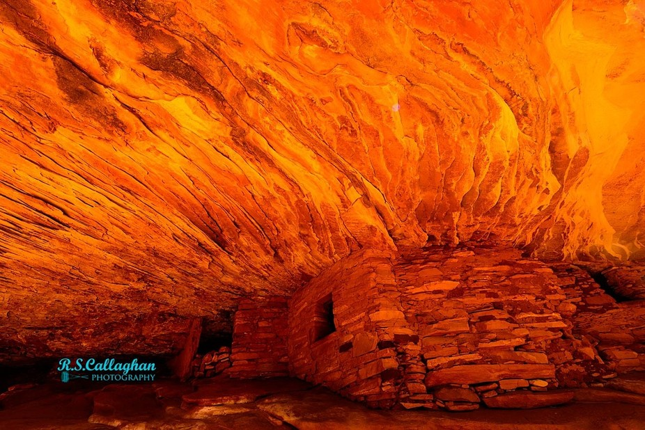 """A nice 1 mile hike in Bears Ears National Monument brings you to this Anasazi ruin tucked under a shallow cliff. Known as """"House On Fire"""", due to the effect of the light when photographed from the proper angle before the afternoon sun hits it directly."""