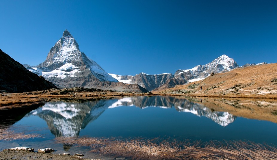 This Picture shows the reflection of the Matterhorn in the Riffelsee on the Gornergrat at Zermatt...