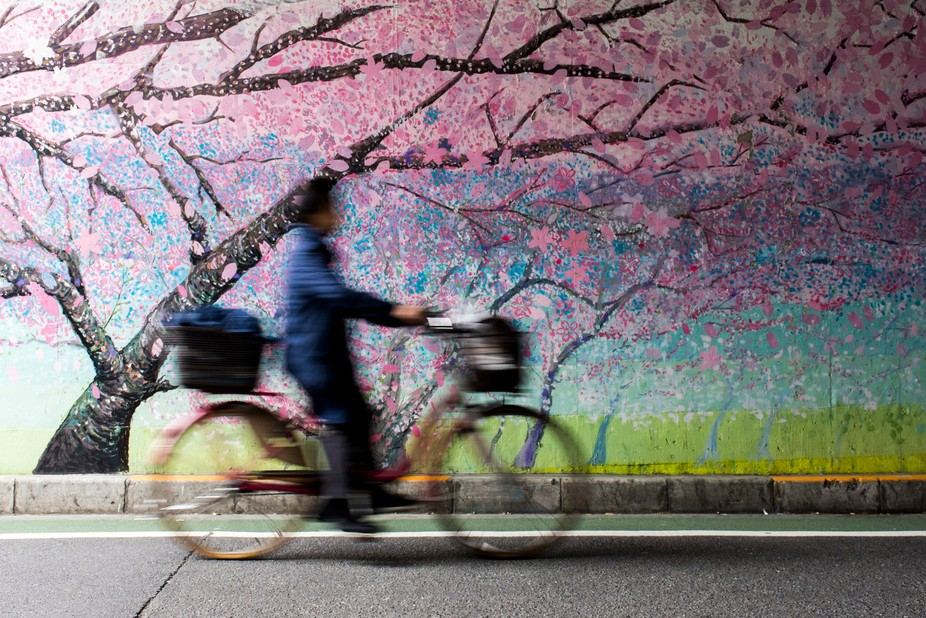 A woman rides under an overpass in Tokyo, Japan