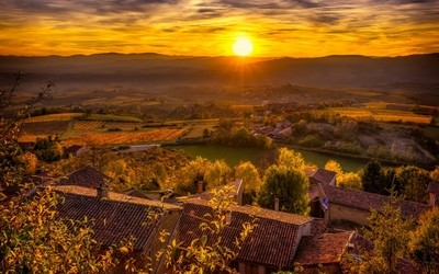 Sunset from Oingt in the Beaujolais