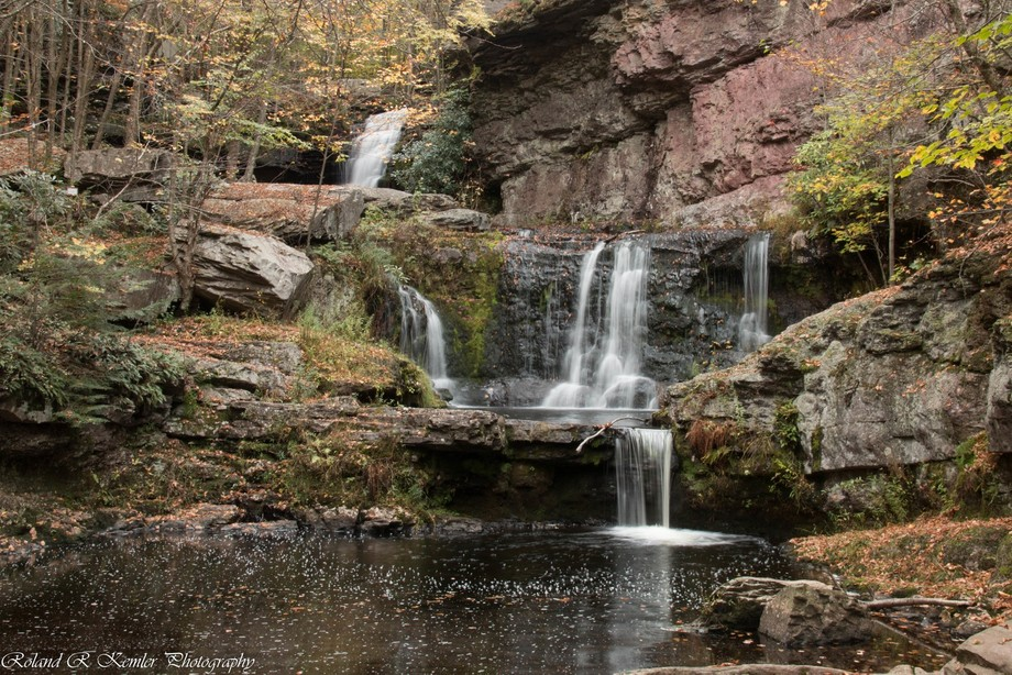 The Indian Ladder Falls are over 50 feet high, with a base over 75 feet wide. The Leavitt Branch formed Indian Ladder Falls over years of carving through shale and sandstone.
