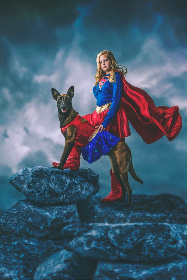Super Girl and Wonderwoman  by dellaina - Halloween Photo Contest 2017