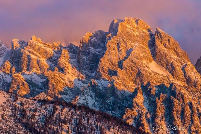 Morning Close Up of One of the Peaks of the Tetons