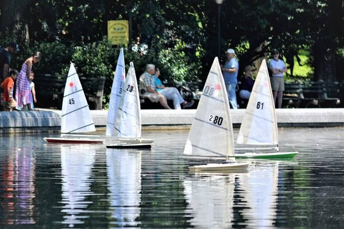 Miniature Sail boats at Central Park, New York City.