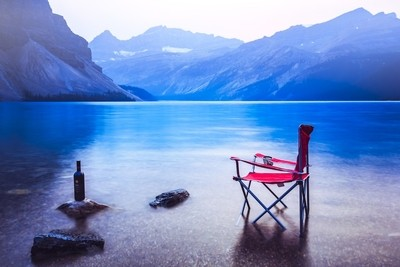 Chair and Wine at Bow Lake